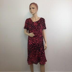 4x$15🟢 Escada Silk Brown Pink Polka Dot Dress